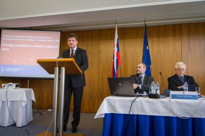 Minister Miroslav Lajčák during the opening speech at a workshop on the theme: