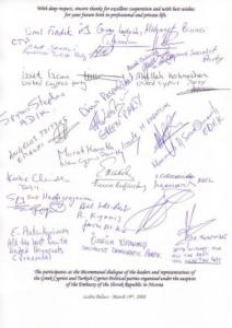 Signatures of participants at the Bicommunal dialogue