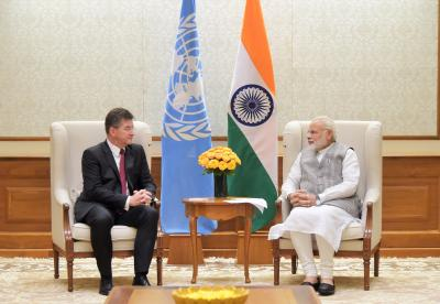 The President-elect of the 72nd session of the UN GA Miroslav Lajčák with Prime Minister of India Narendra Modi.