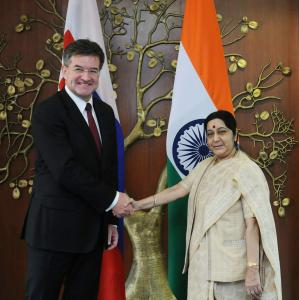The President-elect of the 72nd session of the UN GA Miroslav Lajčák with Minister of External Affairs of India Sushma Swaraj.