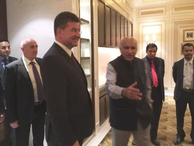 The President-elect of the 72nd session of the UN GA Miroslav Lajčák with Minister of State for External Affairs M.J. Akbar.