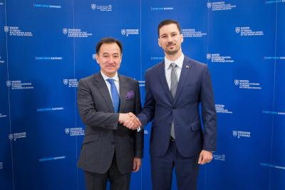 Lukáš Parízek with Minister of Foreign Affairs and Trade of the Republic of Mongolia Damdin Tsogtbaatar
