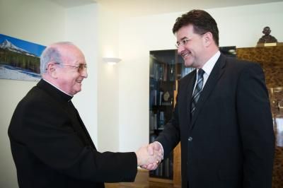 Minister Miroslav Lajčák and Apostolic Nuncio Msgr. Mario Giordano during welcome.