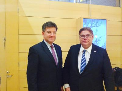 M. Lajčák with Minister of Foreign Affairs of Finland Timo Soini.