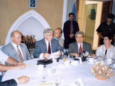 From the bi-communal meetings of the leaders of the political parties from the Greek-Cypriot and Turkish-Cypriot communities at the Ledra Palace. (6th June 2000 and 10th October 2001)