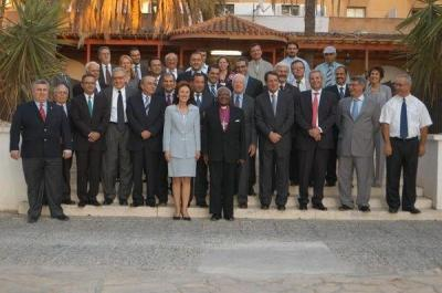 The Elders pay a visit to Cyprus – bi-communal meeting with political party leaders at the Ledra Palace (H.E. Archbishop Desmond Tutu, H.E. Mr. Jimmy Carter and H.E. Mr. Lakhtar Brahimi) on 8th October 2008